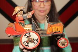 Antique Vintage Marx Whoopee Car Wind Up Metal Toy WORKS