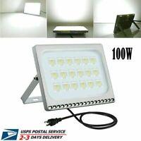 100W LED Flood Light Garden Outdoor Security Lamp US Plug 110V Cool White US