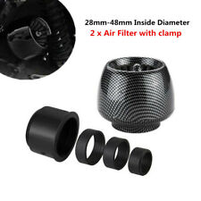 2xCarbon Fiber Motorcycle Straight Pipe Air Intake Filter Inlet Adapter 28-48mm