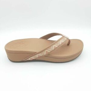 Vionic Womens Pacific High Tide Chevron Thong Sandals Dusty Pink Wedge 8W NEW