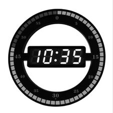 Modern LED Digital Wall Clock Night Glow Round For Bedroom Living-room Kitchen