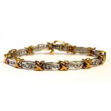 14k white yellow gold 2ct SI3-I1 H diamond XOXO tennis bracelet 12.3g estate