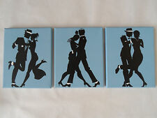 Set of 3 Dancing Couple Swing Jazz  Art Nouveau Gatsby Canvas Paintings