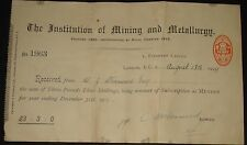 INSTITUTE OF MINING AND METALLURGY RECEIPT FROM SHANWOOD ESQ DECEMBER 31, 1919