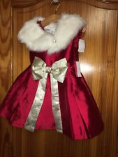 Girls Dress Miss Mona Mouse Girls Dress Age 2 Years Red Gold Sparkle Fur Cape