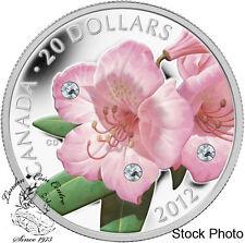 Canada 2012 $20 Rhododendron Crystal Dew Drop Pure Silver Coin