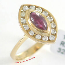 14k Yellow Solid Gold Genuine & Natural Red Marquise Ruby & Diamonds Ring TPJ