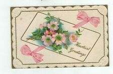Antique Greetings Embossed Post Card Pink Wild Roses and Ribbon