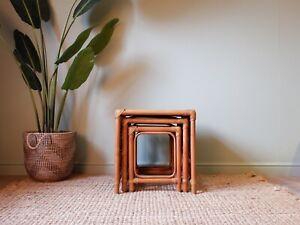 Vintage Retro Bohemian Boho Rattan Wicker Bamboo 1970s Nest of Tables