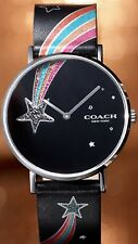 COACH NEW IN BOX WOMENS PERRY BLACK LEATHER STRAP WATCH RAINBOW STAR 36mm