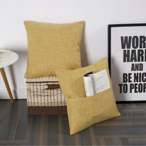 Set of 2 Throw Pillow Case Cover books, iphone, ipad holder pocket on the side