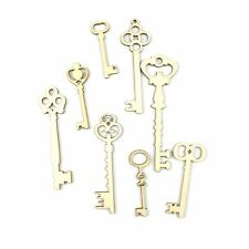 8pcs/set Decoration Key Shapes Wooden Card Ornament Embellishment Scrapbooking