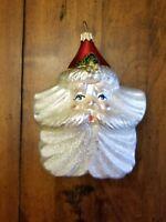 Vintage Dept. 56 Christmas Ornament Santa Star Sparkle Red Pearl Metallic Shine