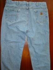 Mens Work Carhartt Faded Blue Jeans Size 42x34