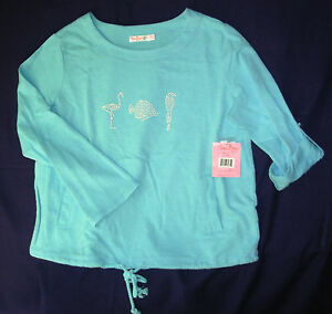 new SUN BAY women P L Pullover Top Cotton Long Sleeve Turquoise sealife Petite L