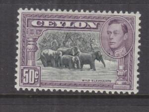 CEYLON, 1942 KGVI, perf. 11 1/2 x 11, 50c. Elephants, lhm.