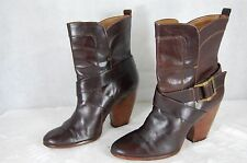 Frye ' ANREAMID' WOMEN  BROWN LEATHER  RIDING BIKER BOOTS 10