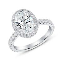 1.90 Ct Oval Brilliant Cut Pave Diamond Halo Engagement Ring G,VS2 GIA Certified