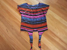LADIES CUTE BLACK MULTI COLOUR STRIPE SLEEVELESS TOP BY HOT OPTIONS - SIZE 10