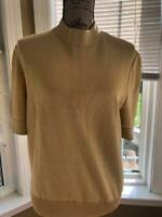 ST JOHN BASIC KNIT GOLD METALLIC BLOUSE TOP SIZE (BL100