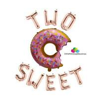 """16"""" Rose Gold Two Sweet with 29"""" Sprinkle Donut Foil Party Balloon Banner"""