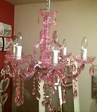 Pink 6 Light Chandelier Ceiling Light / Crystal Drops Glamourous Bedroom Light
