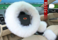 3pcs Car Soft Wool Steering Wheel Cover Winter Warmer Automotive Interior Decor