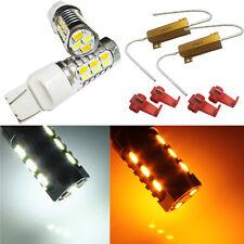 2X 5730 Dual Color 7443 20-LED Turn Signal Light Bulb + Load Resistor 7444NA 992