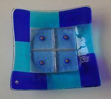 Cristal De Murano-Millefiori Plato Cuadrado Azul