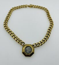Ciner Vintage Yellow Gold Plated Ancient Coin Design Chain Link Necklace