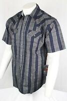 Moonshine Spirit Men's Dark Navy Grey Plaid Short Sleeve Western Shirt Mssu19w3