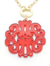 NWT Zenzii Resin Just Scroll with It Statement Necklace N1011 Red ~ NEW!