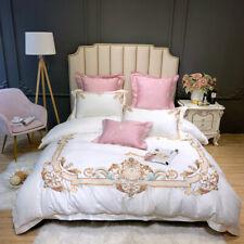 Bedding set 4 Pieces Embroidery cotton duvet cover bed sheet 2 pillowcase white