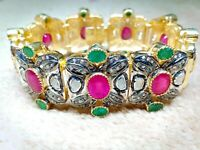 Natural Ruby Emerald Gemstone 925 Silver Bracelet With Rose Cut Diamond Bracelet