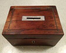 Antique Mother Of Pearl Slot Wooden Money Cash Box