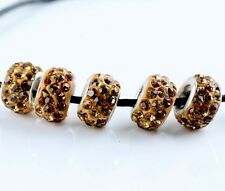 20 Quantity SILVER MURANO GLASS BEADS LAMPWORK Fit European Charm Bracelet Brown