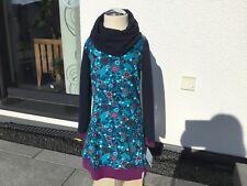 Farbenmix Ballonkleid Winterkleid Kleid Kuschelkragen Handmade Größe 110 NEU