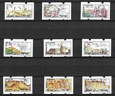 ISRAEL 1994 VENDING MACHINE LABELS PILGRIM TOURIST SERIES , FULL SET OF 9