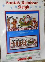Vtg New Dimensions Counted Cross Stitch Kit Santa's Reinbear Sleigh #8346 Sealed