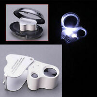 60X 30X Glass Magnifying Magnifier Jeweler Eye Jewelry Loupe Loop W// LED Lights