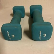 Reebok 3 lb Dumbbell Set of 2 Hand Weights Aqua Neoprene Pair Rehab Workout Gym