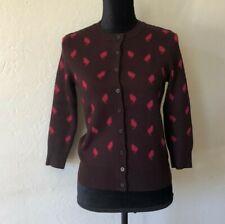 Ann Taylor LOFT Cat Print Knit Sweater Cardigan Size S Button Up Long Sleeve