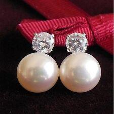 Boucles d'Oreilles Perle de Culture Blanc Argent Sterling 925 CZ 10mm Impériale