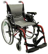 """Karman Ergonomic Wheelchair S-Ergo305Q w Quick Release Backrest Footrest 18"""" Red"""