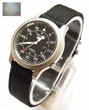 Gift + SNK809 Military Style Automatic Men's Black Watch SNK809K2 SEIKO 5 New