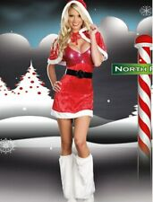 XMAS GIFT WOMENS SANTA CLAUS COSTUME OUTFIT PARTY FANCY DRESS SIZE M/8-10 UK