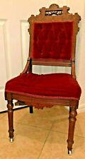 Antique 1800's Eastlake Walnut Red Velvet Chair VictorianCarved Wood Roll Wheel