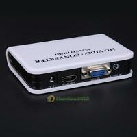 Audio VGA to HDMI 1080P Full HD HDTV Video Converter Adapter Box for Laptop PC
