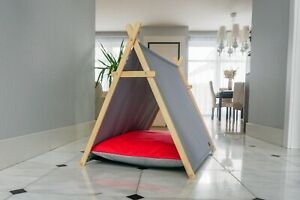 Raspberry dog tent, dog hut, dog waterproof bed with wooden stand, dog cabin