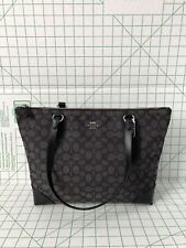 Coach F29958  Outline Signature Zip Tote Jacquard handbag Black Smoke/Black